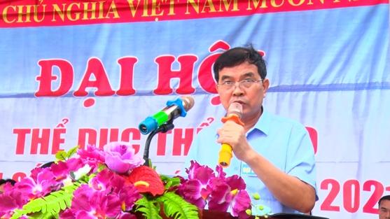 Đ.c Trần Quốc Phong, phó chủ tịch UBND huyện, Trưởng ban tổ chức Đại hội TDTT huyện phát biểu tại Đại hội .jpg